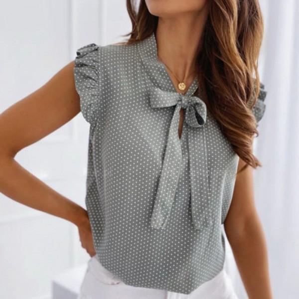 Summer Female Short Sleeves Bow Lace Up Polka Dot Ruffle Pullover Shirts Tops