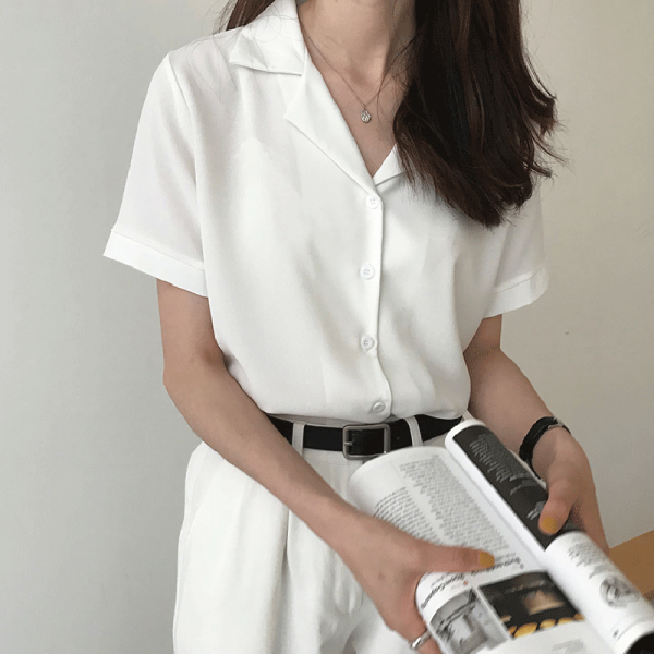 Summer Women Fashion Short Sleeves V Neck Casual Office White Shirts Tops