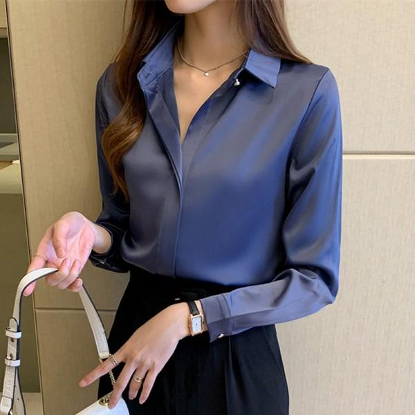 Women White Long Sleeve Shirts Office Lady Silk Blouse Tops Plus Size Shirt