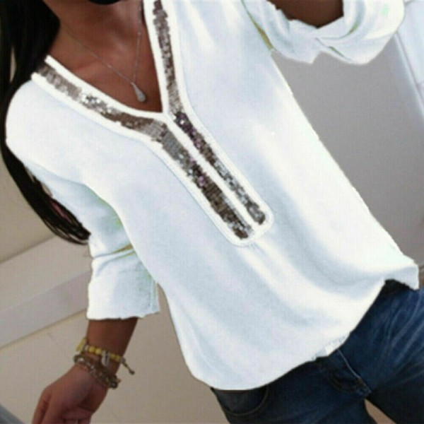 Fashion Women Long Sleeve Loose Blouse V-Neck Sequined Casual Shirts Tops