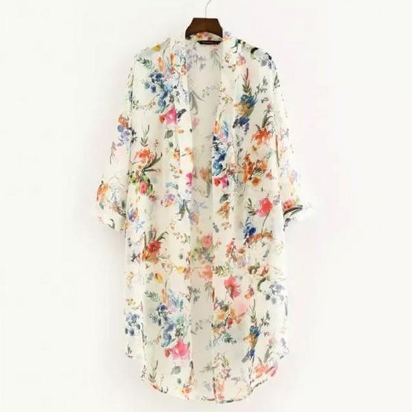Women Floral Chiffon Shirts Simple Long Sunscreen Blouse Loose Shawl Cardigan Boho Tops