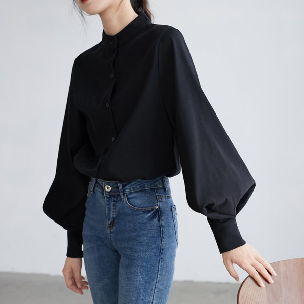 Women Autumn Single Breasted Stand Collar Lantern Sleeve Blouse Office Work Solid Vintage Shirts