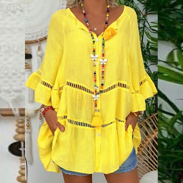 Women's Solid Cotton Linen Hollow Long Sleeve V-Neck Pullover Plus Size Shirt Blouse