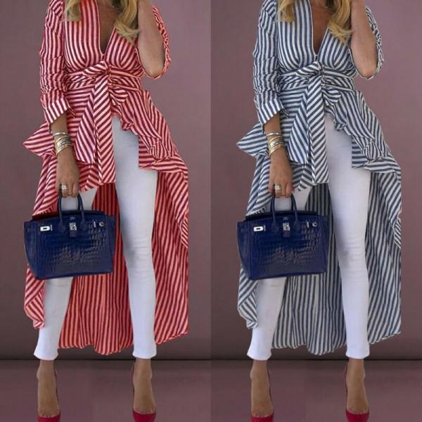 Women Long Sleeve V-neck Loose Tops Striped Front Tied Dip Hem Shirt With Belt