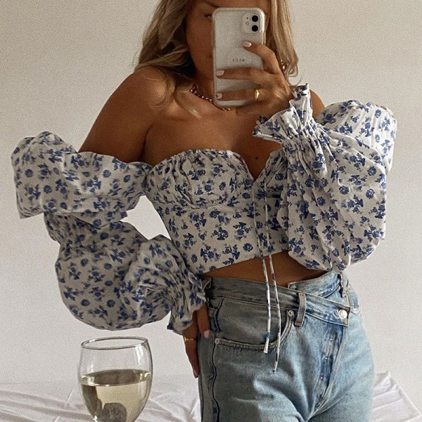 Women Blue Floral Print Tie Front Top Puff Sleeve Elegant Vintage Sexy Shirt