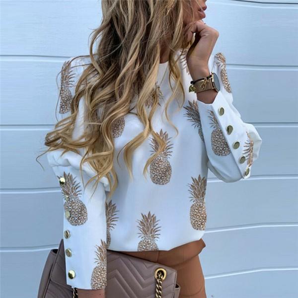 Women O-Neck Loose Slim Casual OL Blouse Ladies Long Sleeve Cropped Print Shirts