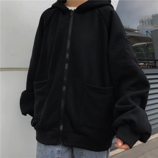 Women Long Sleeve Plus Size Hoodies Kawaii Oversized Zip Up Sweatshirt