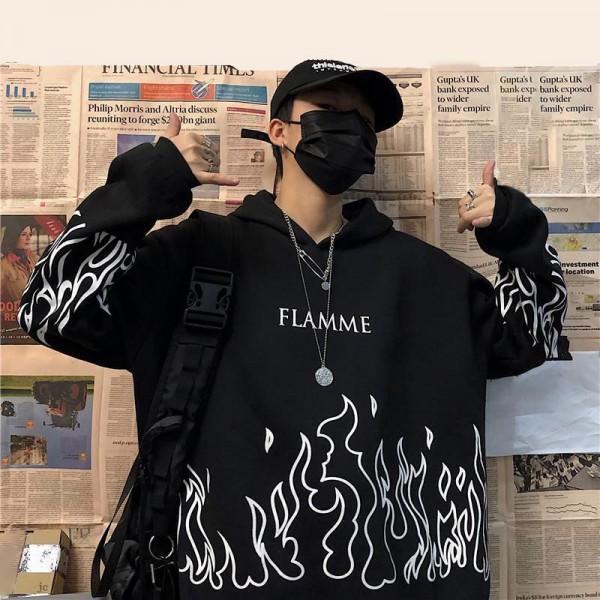 Ladies Flame Print Pullover Hoodie Plus Size Winter Sweatshirt