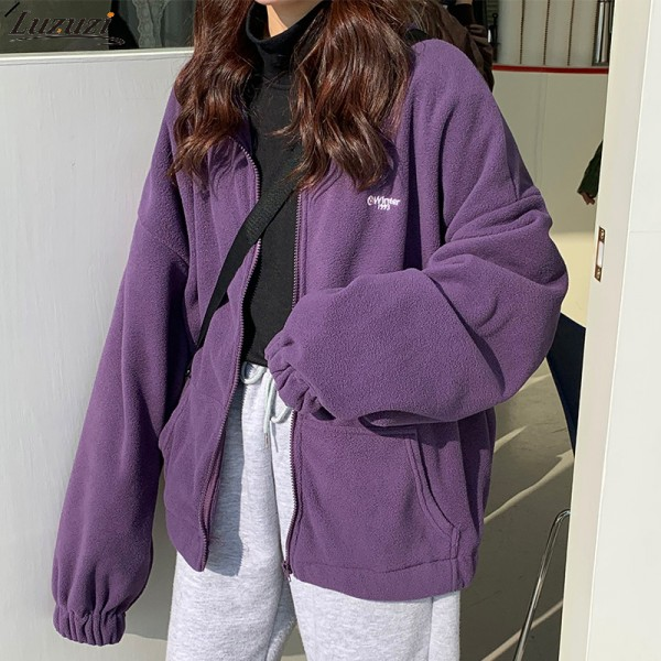 Ladies Winter High Quality Long Sleeve Fleece Large Round Neck Hoodie Hooded Sweatshirt