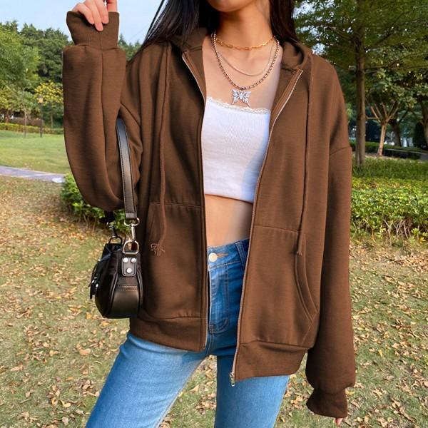 Zip Hooded Sweatshirt Woman Long Sleeve Oversized Hoodie Retro Pocket Pullover