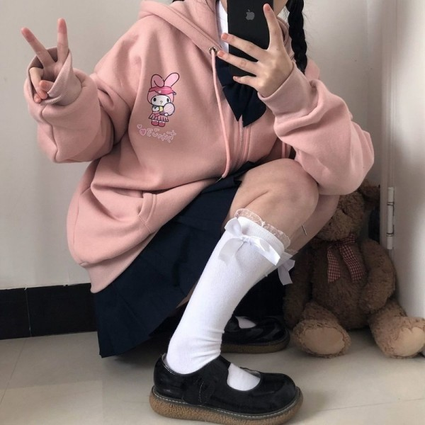 Anime Print Hoodie Women Long Sleeve Zip Up Hoodie Cute Print Plus Velvet Sweatshirt