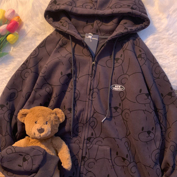 Women Fashion Clothe Hoodies Lillte bear Cartoon Vintage Spring summer Sweatshirt