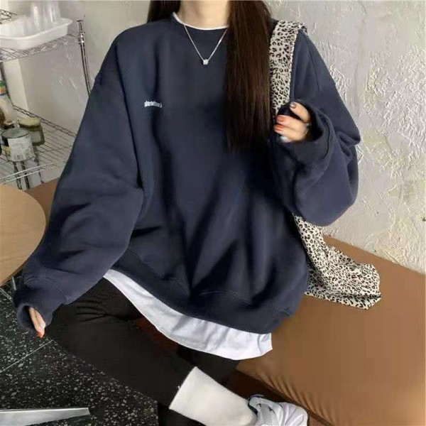 Women's Spring and Autumn New Fashion Splicing Pullover Solid Sweatshirt