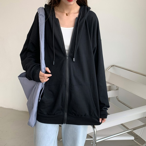 Korean version loose thin long-sleeved hooded sun protection solid coat