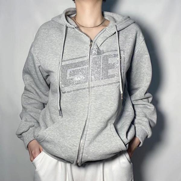 Dulzura Rhinestone Letter Print Women Long Sleeve Autumn Winter Sweatshirt Hoodis Zipper Streetwear