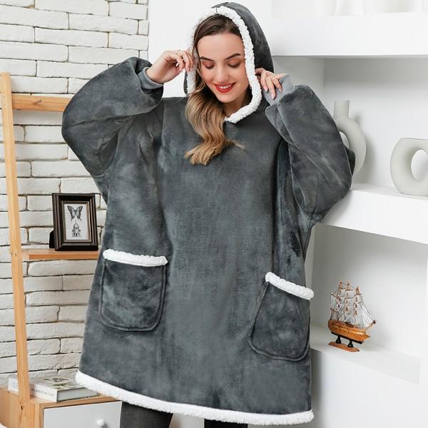 Women Oversized Hoodie Blanket Sleeves Sweatshirt Plaid Winter Fleece Hoody Pocket Sweatshirt