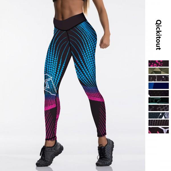 Qickitout 12%spandex Sexy High Waist Elasticity Women Digital Printed Leggings