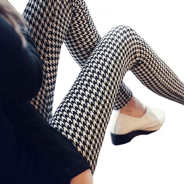 Graffiti Floral Patterned  Leggins For Women Leggings Houndstooth Elastic Design Vintage Leggins