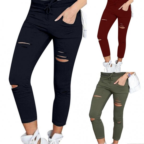 Plus Size Solid Color Drawstring High Waist Pencil Pants Ripped Skinny Leggings