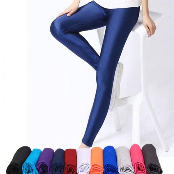Women Shiny Pant Leggings Solid Color Fluorescent Spandex Elasticity Casual Trousers