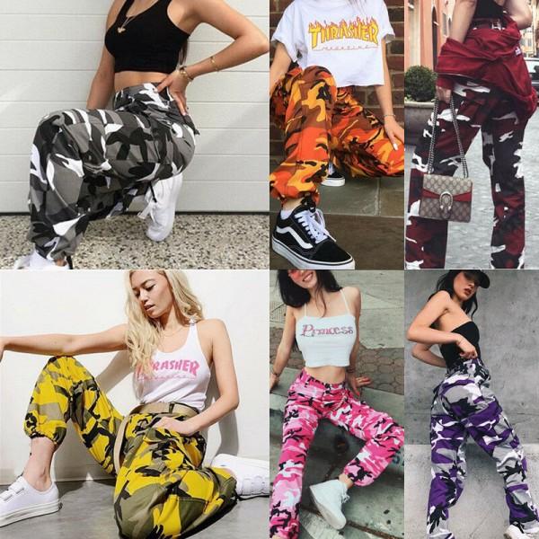 Women Fashion 6 Color Camo Cargo Pants High Waist Hip Hop Trousers  Camouflage Long Pants