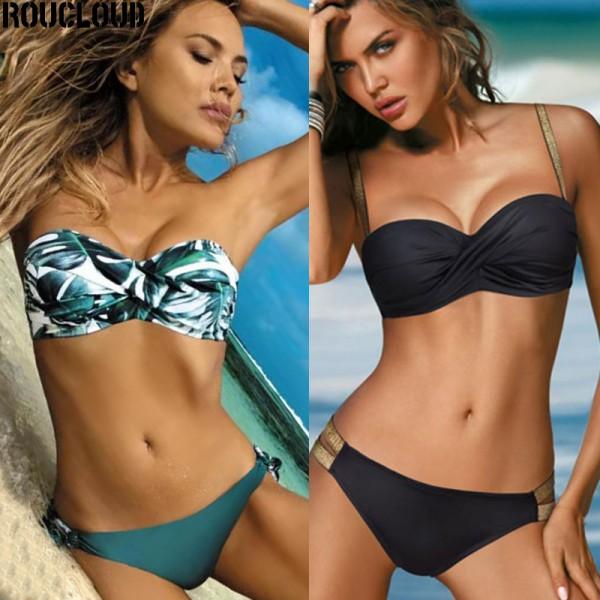 Women Sexy Solid Color Bikini Swimwear Bandeau Biquini Swimsuit Bathing Suit