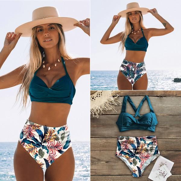 Women Sexy High Waist Bikini Halter Plus Size Swimsuit Bikini Set Bodysuit Bathing Suit