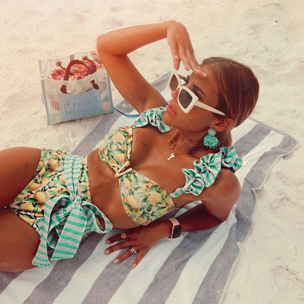 Two-Pieces Women Floral  Padded Bra Ruffles Bandage Bikini Set Swimsuit Beachwear