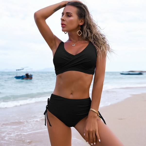 Solid Sexy Bikini Summer Swimsuit Women 2 Pieces High Waist Bikini Swimsuits