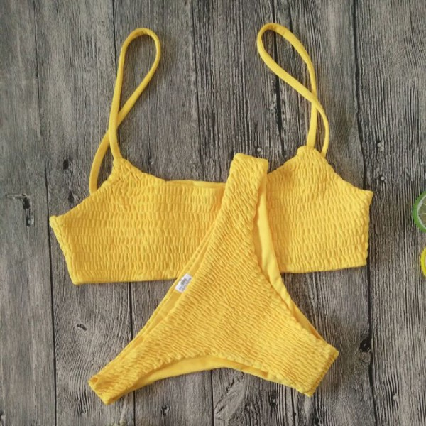 Women Hot Sale Push-up Padded Bra Bikini Set Pleated Beach Bathing Costume Bikini Set