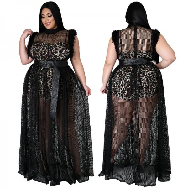 Women Summer Plus Size Mesh Dress Leopard Lining Transparent Club Party Maxi Dresses