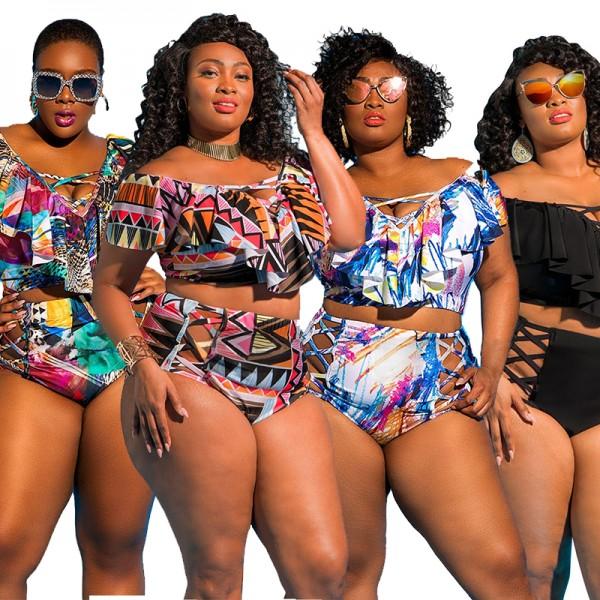 Women Plus Size 2 Piece Set V Neck Crop Tops + High Waist Shorts Set Skinny Bikini Outfit