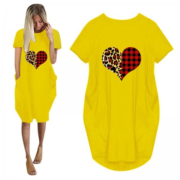 Women Loose Love Print Leopard O-neck Pocket Dress Short Sleeve Dresses Plus Size Dress