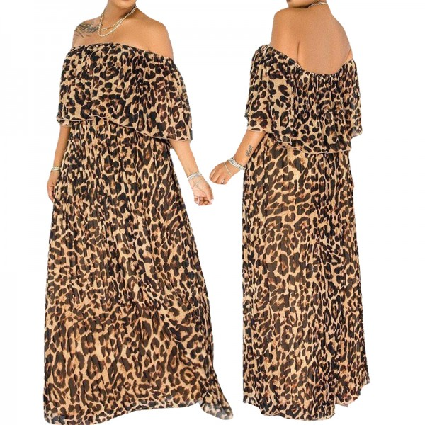 Women Plus Size Dresses Loose Long Dress Leopard Stretch Off Shoulder Bohemian Dress