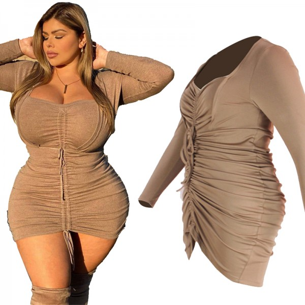 Birthday Outfits Women Spring Clothes High Waist Draped Bodycon Plus Size Dress