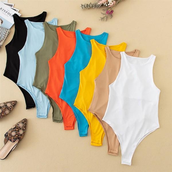 Jumper Bodysuit Women Sexy Slim Beach Jumpsuit Bodysuit Solid Brand Suit Clothes