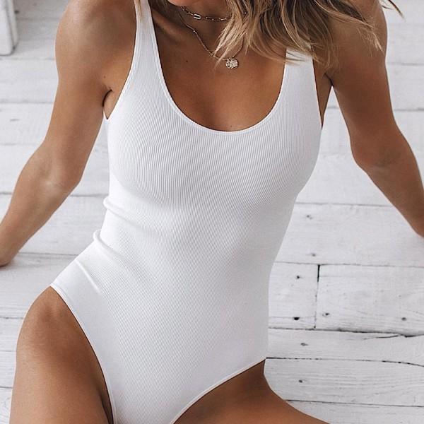 Strappy Bodysuit Sexy Backless Ribbed Bodysuit Femme Sleeveless Tank Top Bodysuit