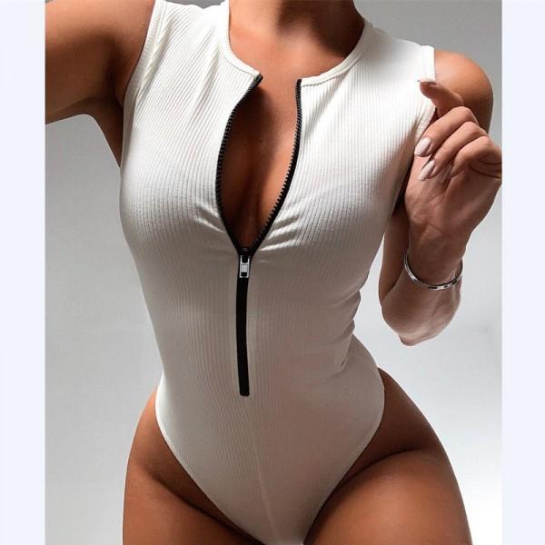 Zipper Sexy Bodysuit Women Bodycon Basic Top Sleeveless Bodysuit Jumpsuit