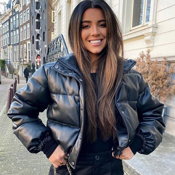 Women Thick Short Parkas PU Leather Coats Zipper Cotton Jackets
