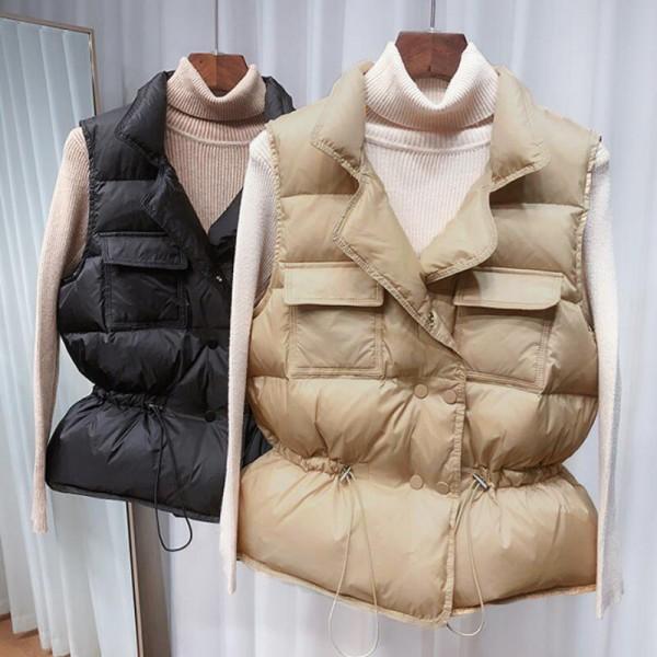 Women Short Sleeveless Vest Jacket Lightweight Waistcoat Gilets Windbreaker Down Coat