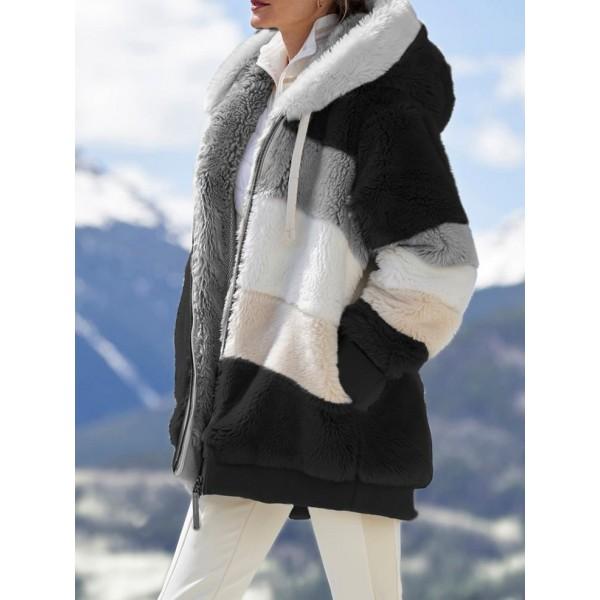 Women Coat Stitching Plaid Ladies Clothes Hooded Zipper Coat Women Jacket