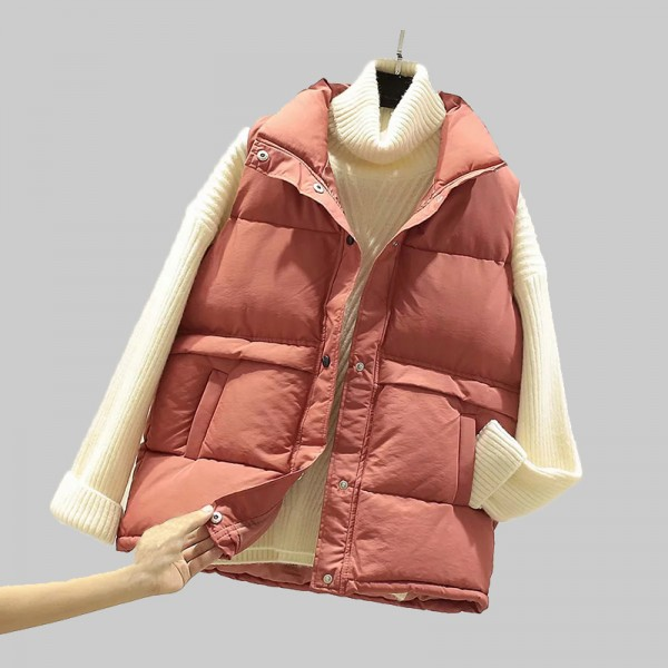 Women Sleeveless Mandarin Collar Vest Winter Plus Size Down Cotton Padded Jacket