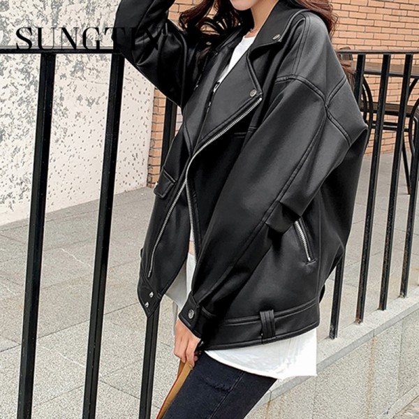New Faux Leather Jacket Women PU Loose Motorcycle Jackets Streetwear Oversized Coat
