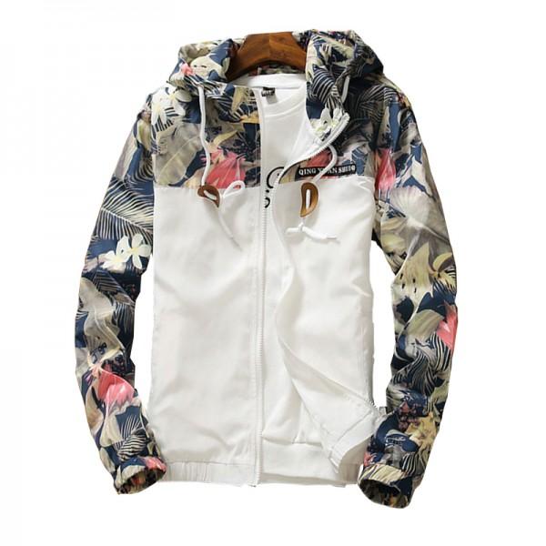 Women Hooded Jackets Floral Windbreaker Basic Jackets Coats Zipper Lightweight Jackets