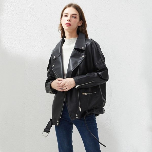 Fitaylor PU Jackets Outwear Female Tops BF Style Leather Jacket Coat