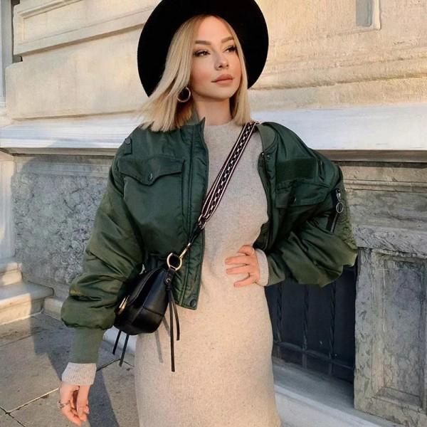 Lady Short Jackets Fashion Long Sleeve Zipper Bomber Jacket Outwear Women's Coat