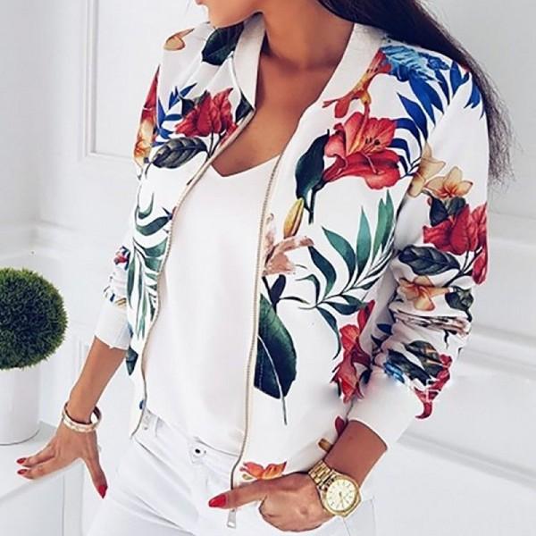 Women Long Sleeve  Zipper Print Bomber Jacket Casual Pocket Slim Outwears Plus Size