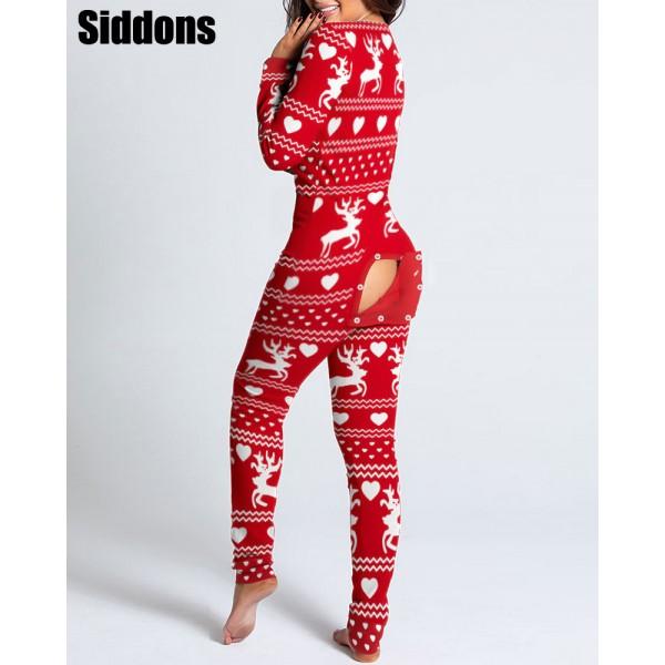 Women Christmas Cutout  Flap Adults Pajamas Club Button Design Plunge Lounge Jumpsuit