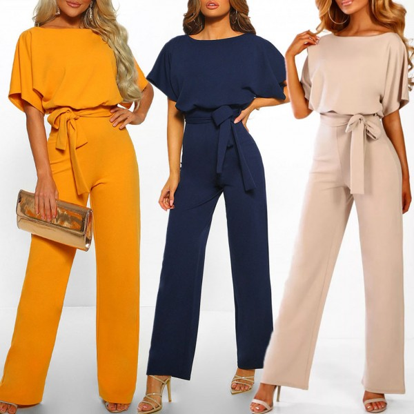 Women Short Sleeve Playsuit Clubwear Straight Leg Jumpsuit With Belt Bodysuit Rompers
