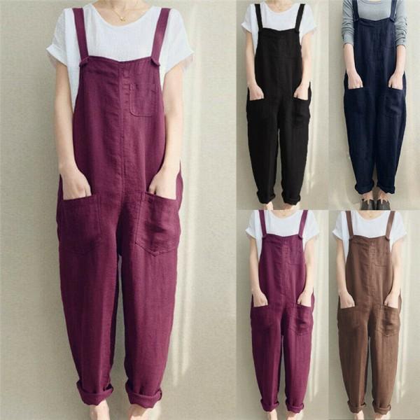 Women Sleeveless Dungarees Cotton Linen Jumpsuit Loose Preppy Style Pants Pocket Overalls